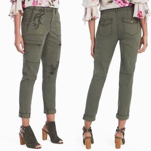 WHBM Embroidered Utility Slim Crop Cargo Pants 4
